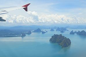 Internationale vlucht Thailand vervoer