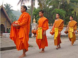 ochtend ritueel monniken laos