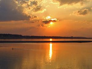 sunset rivier Laos klimaat