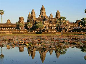 Water weerspiegeling Angkhor Wat Cambodja