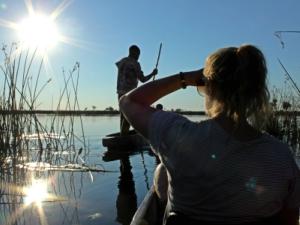 Mokoro varen in de Okavangodelta