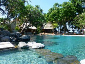Een laatste duik in het zwembad in Sanur, Bali