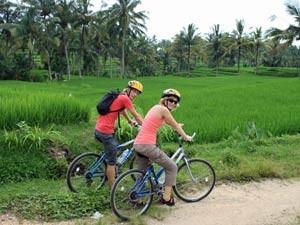 Dag 3 Verblijf Ubud fietsexcursie langs omliggende dorpjes Rond een uur of 8 word je opgehaald en naar het startpunt gebracht met een minibusje. Heb je eenmaal je helm op en je fietshandschoenen aan dan kan het zoeven beginnen door dit prachtige land. Fiets met een ervaren gids door de heuvels en de achterlanden van Bali. Rij op de mountainbike door boerendorpjes terwijl de gids honderduit vertelt over het typische Balinese leven. Leer tijdens een korte wandeling hoe rijst wordt gemaakt. Onderweg kom je langs kleine familietempels waar vrouwen in kleurrijke kleding rijstoffers brengen. Fiets via kronkelige paden met links en rechts knalgroene rijstvelden naar het huis van de gids. In de tuin geniet je van een welverdiende lunch met de familie voor je terug gaat.
