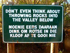 Schild im Valley of Desolation