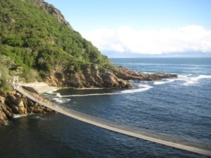 Hängebrücke im Tsitsikamma-Nationalpark bei Südafrika Camping