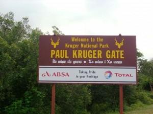 Südafrika - Krüger Nationalpark - Schild am Eingang des Nationalparks