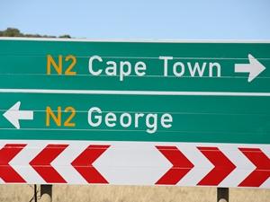 Ein Verkehrsschild in Südafrika