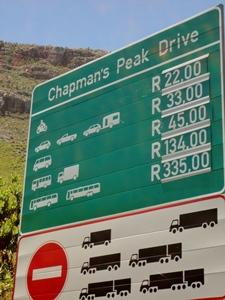 Eine Mauttafel in Südafrika
