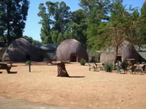 Traditionelle Bienenkorbhäuser in Swaziland