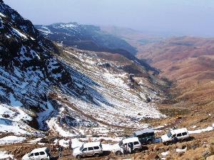 Sani Pass auf dem Weg nach Lesotho