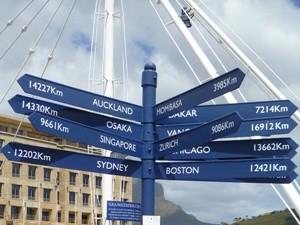 Richtungspfeil in Kapstadt an der Waterfront