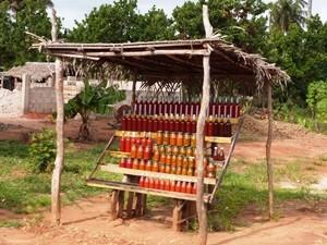 Mosambik-Bilene-Verkaufsstand-am-Straßenrand