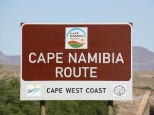 Straßenschild auf dem Weg nach Namibia