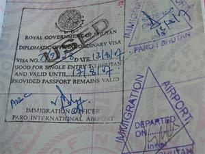 Beispiel eines Visums für Bhutan