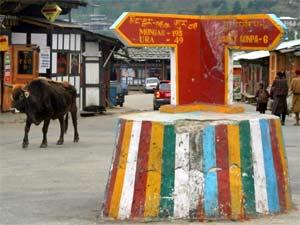 Wegweiser in Jakar