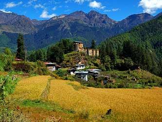 Dorf in ländlicher Region in Bhutan