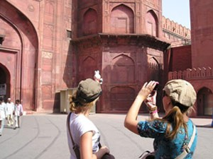 Fotoshooting am Roten Fort in Delhi
