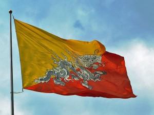 Wehende Flagge von Bhutan
