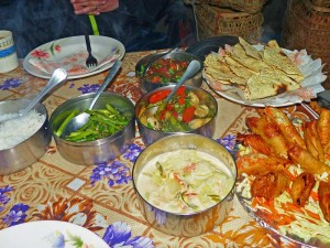Frisch gekochte Mahlzeit mit Reis, Gemüse und Frühlingsrollen auf dem Trekking