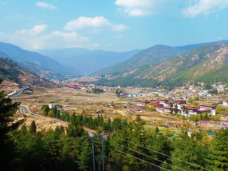 Ausblick auf das Thimphu Tal und den Dzong