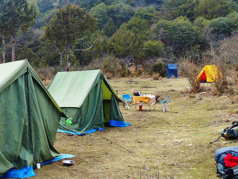Zeltlager mit Küchenzelt, Schlafzelt, gedecktem Tisch auf einer Waldlichtung in Bhutan