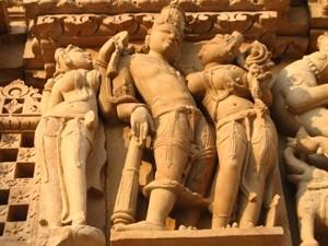 Detailansicht der Khajurao Tempel in Indien