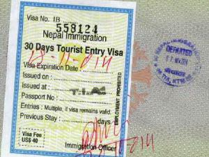 Nepal Visum und Ausreisestempel im Reisepass
