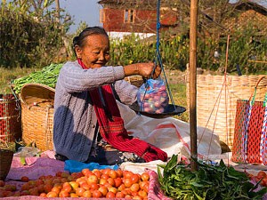 Marktfrau beim Gemüsewiegen in Yangon, Myanmar