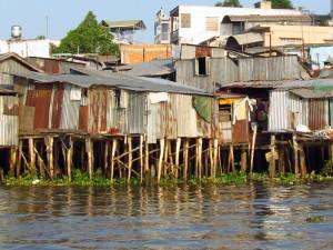 Pfahlhäuser im Mekong