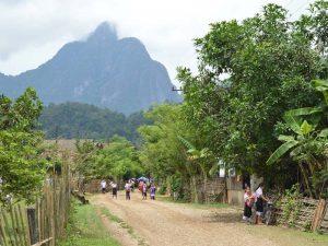Grüne Karstfelsen prägen das Landschaftsbild in Laos