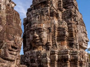 Beeindruckende Gesichter am Bayon Tempel in der Nähe des Angkor Wat