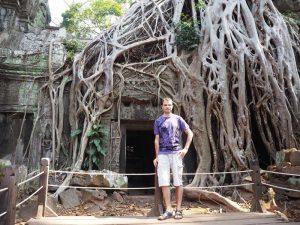 Der Ta Prohm Tempel umgeben von riesigen Wurzeln