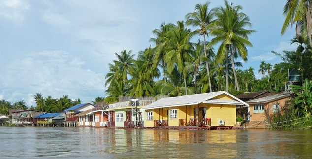 Die schwimmenden Häuser auf den Mekong Inseln