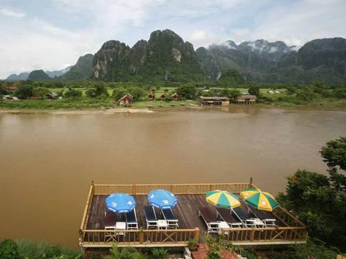 Bungalow-Hotel in Vientiane am Fluss gelegen