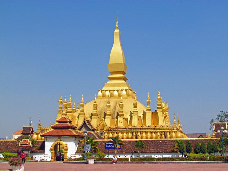 Ein vergoldeter Tempel in Laos