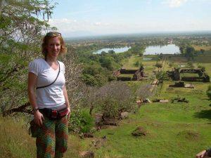 Reisende am Wat Phou bei Champasak