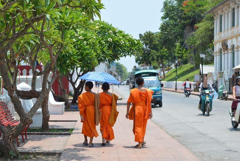 Überall in Laos trifft man auf Mönche in ihren strahlend orangen Gewändern