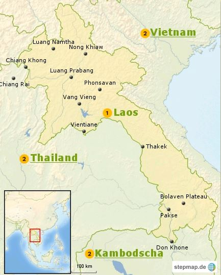 Laos Karte