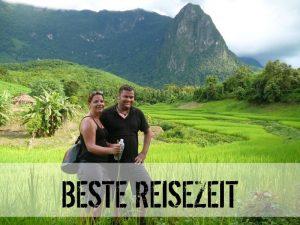 Reisende vor einem Reisfeld