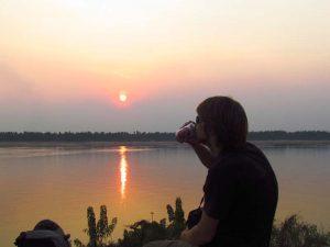 Sonnenuntergang am Mekong bei Kratie