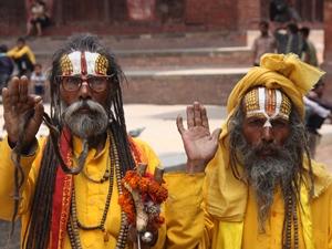 Sadhus auf dem Durbar Square in Kathmandu