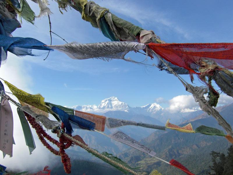 Nepal Reisen Gebetsflaggen Schneeberge