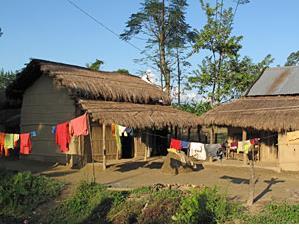 Ein typisches Haus im Tharu Dorf