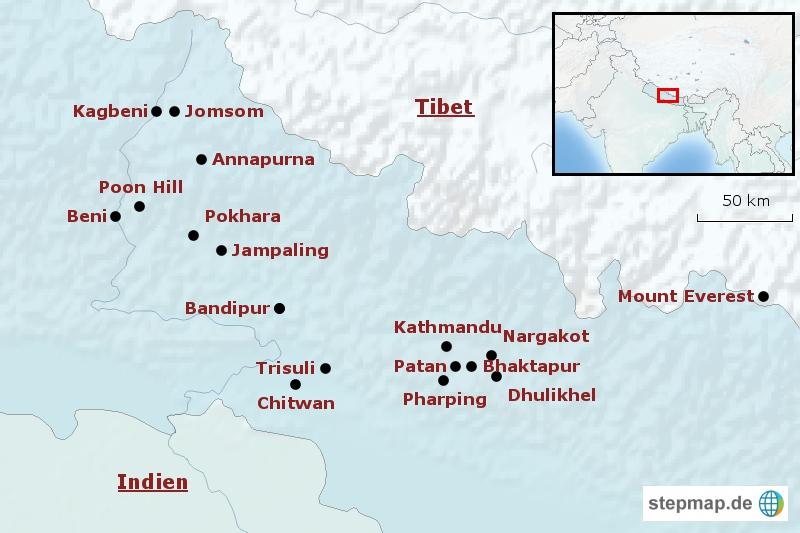 Nepal Uebersichtskarte