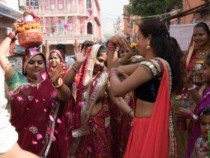 Op straat in roze Jaipur