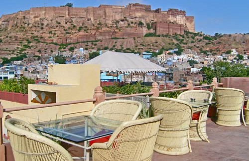 india hotel uitzicht terras