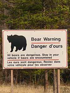praktisch Canada - waarschuwingsbord beren tweetalig