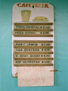 menukaart, culinair Cuba