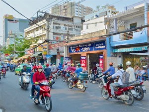 Saigon Vietnam - Scooters op straat