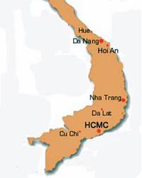 Individuele reis Vietnam - Kaart Zuid Vietnam